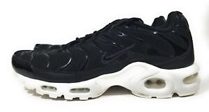 101a34f95ecf2 Nike Air Max Plus TN Mens Running Shoes Black White Size 10