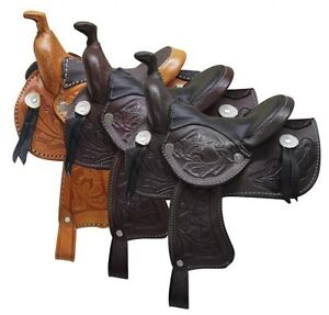 Western-Horse-Miniature-Leather-Saddle-5-034-Seat-Decoration-Novelty-Color-Choice