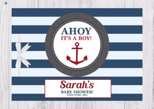 Keep Sake Ahoy it/'s a boy. PERSONALISED Baby Shower Guest Book Game Blue