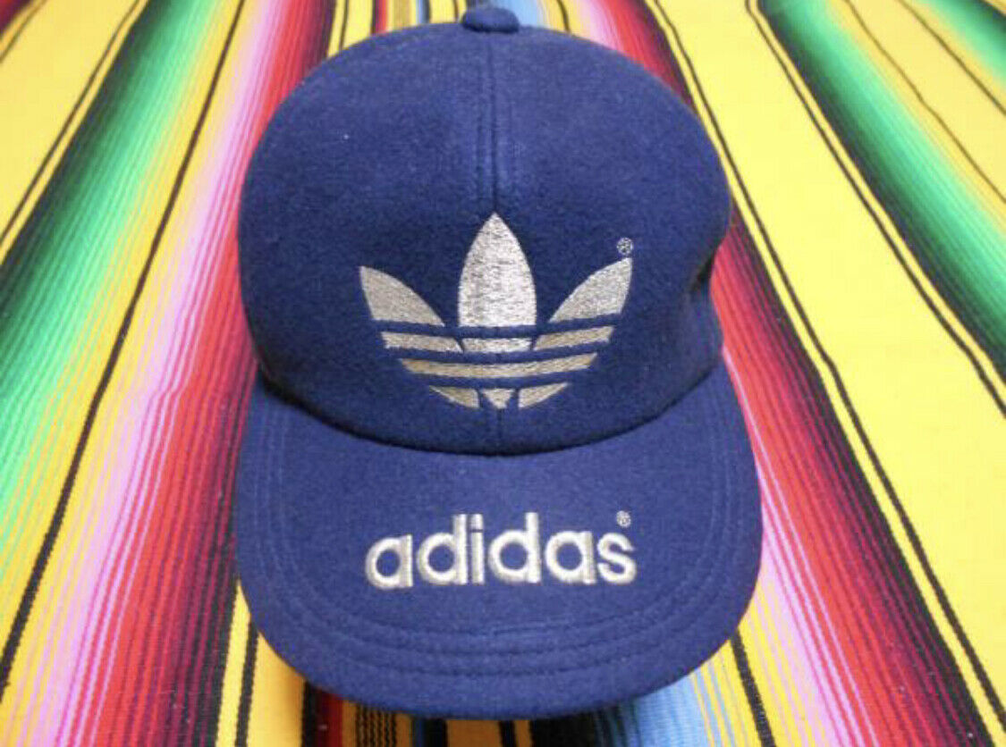 1970s ADIDAS Official Cap Hat Wool 100% Navy Blue Silver Embroidery Size S F/S