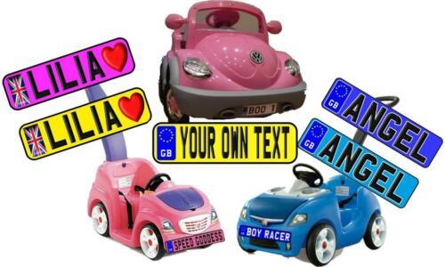Medium Pair of Plates Kids Car//Baby Buggy//Walker Number Plate Novelty