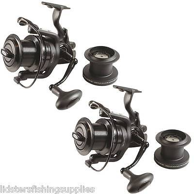 2 x Dynamic 9000 Big Pit Large Carp Fishing Reels Bait Runner /& Spare Spool NGT