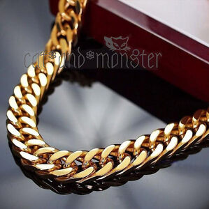 9K-GOLD-FILLED-DOUBLE-CURB-ROMBO-RINGS-MEN-XMAS-GIFT-CHUNKY-SOLID-CUBAN-BRACELET