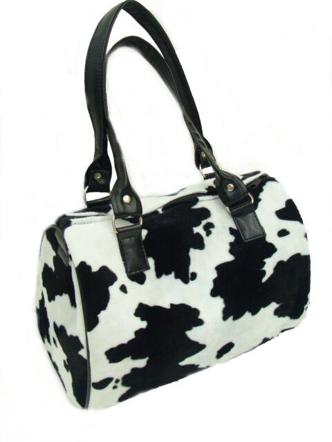 Doctor Bag Satchel Style Animal Print Cow Pattern Handbag Purse New