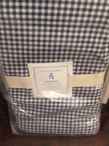 1 Pottery Barn Kids Gingham Sabrina Toy Chest Liner Navy Gingham NWT