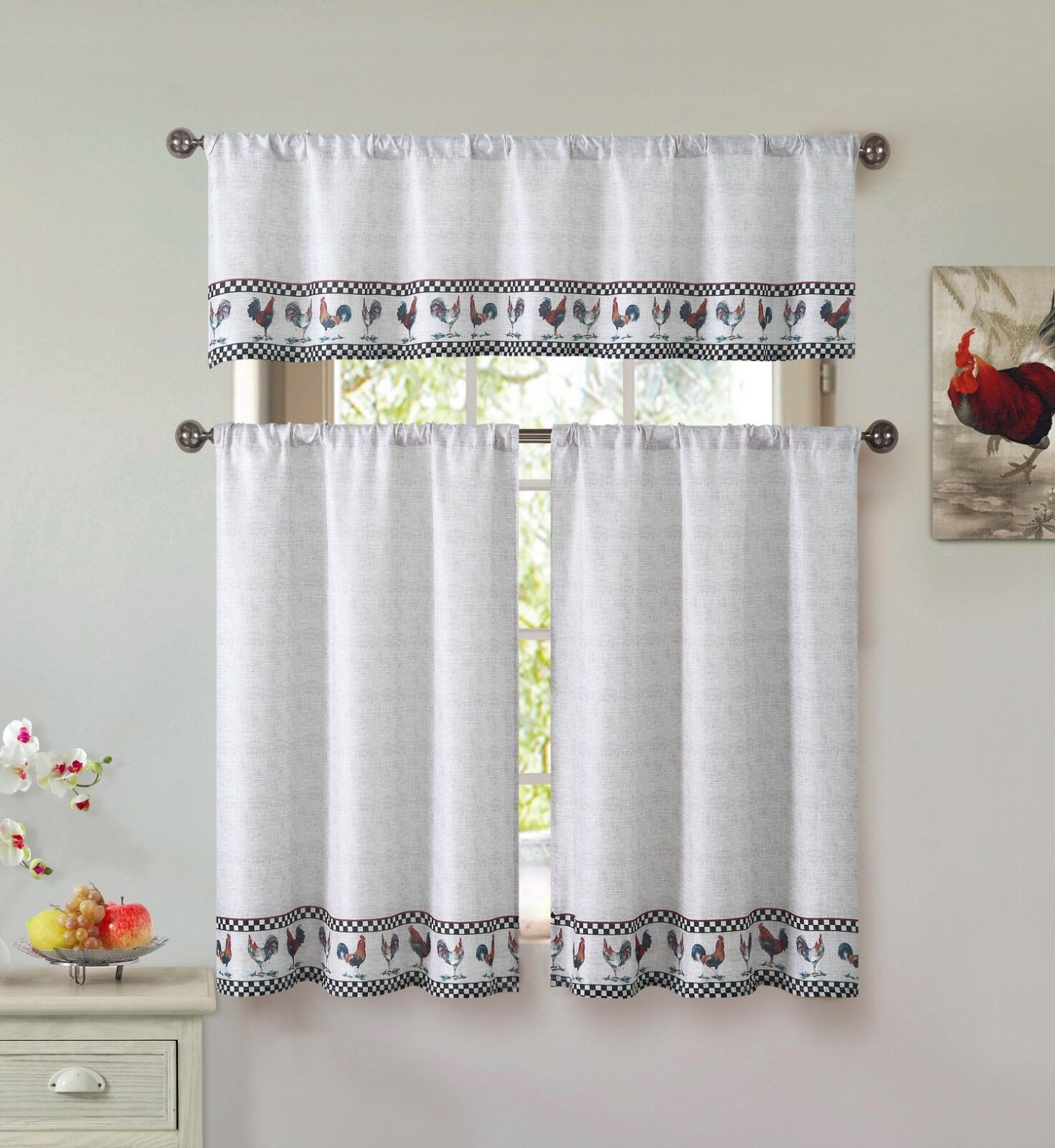 Tan Beige Farmhouse 3 Piece Kitchen Curtains Set Roosters Black Checked Nwop For Sale Online