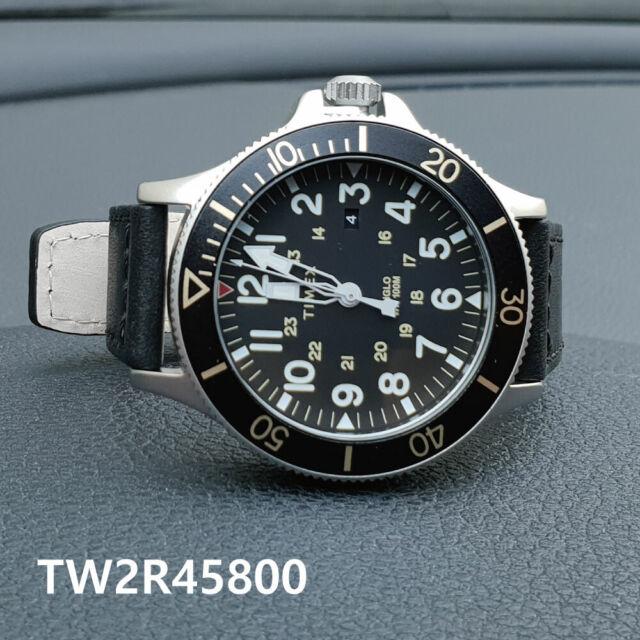 Allied Black Coastline Watch Quartz Leather Timex 43mm Men's Tw2r45800 JuK3lcF1T