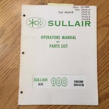 Sullair 900 Cfm Operation Amp Maintenance Manual Parts Book List Air Compressor