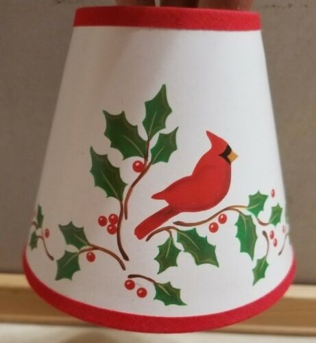 Christmas Cardinal Holly Mini Chandelier Clip On Lampshade Lamp Shade FS