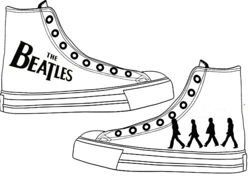 2646322b71b2 Adult White Custom The Personalised Character Converse Shoes Beatles 455xqWa