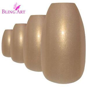 False-Nails-Gold-Glitter-Ballerina-Coffin-Bling-Art-24-Fake-Acrylic-Tips-2g-Glue