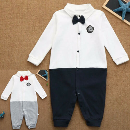 Novelty Newborn Baby Kids Boys Long Sleeve Tie Romper Jumpsuit Playsuit Outfits
