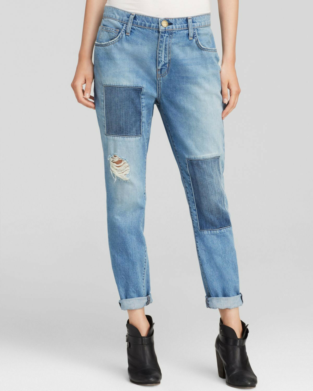 Current Elliott The Fling Slim Boyfriend Patchwork Destroyed Crop Jeans Boho 27