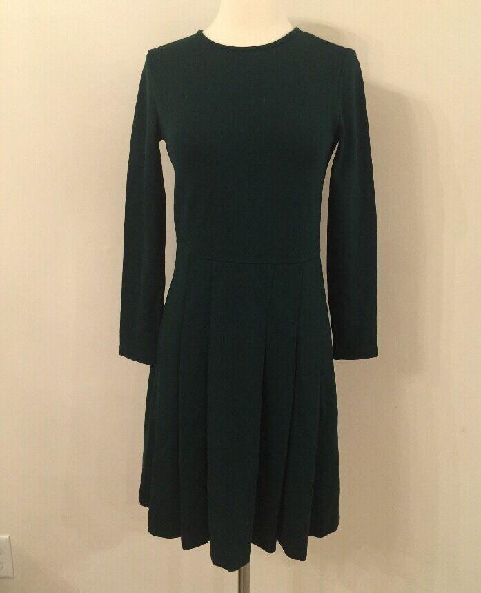 JCrew  Pleated Ponte Dress 0 Pine Forest Grün F8768 Suiting Work NEW