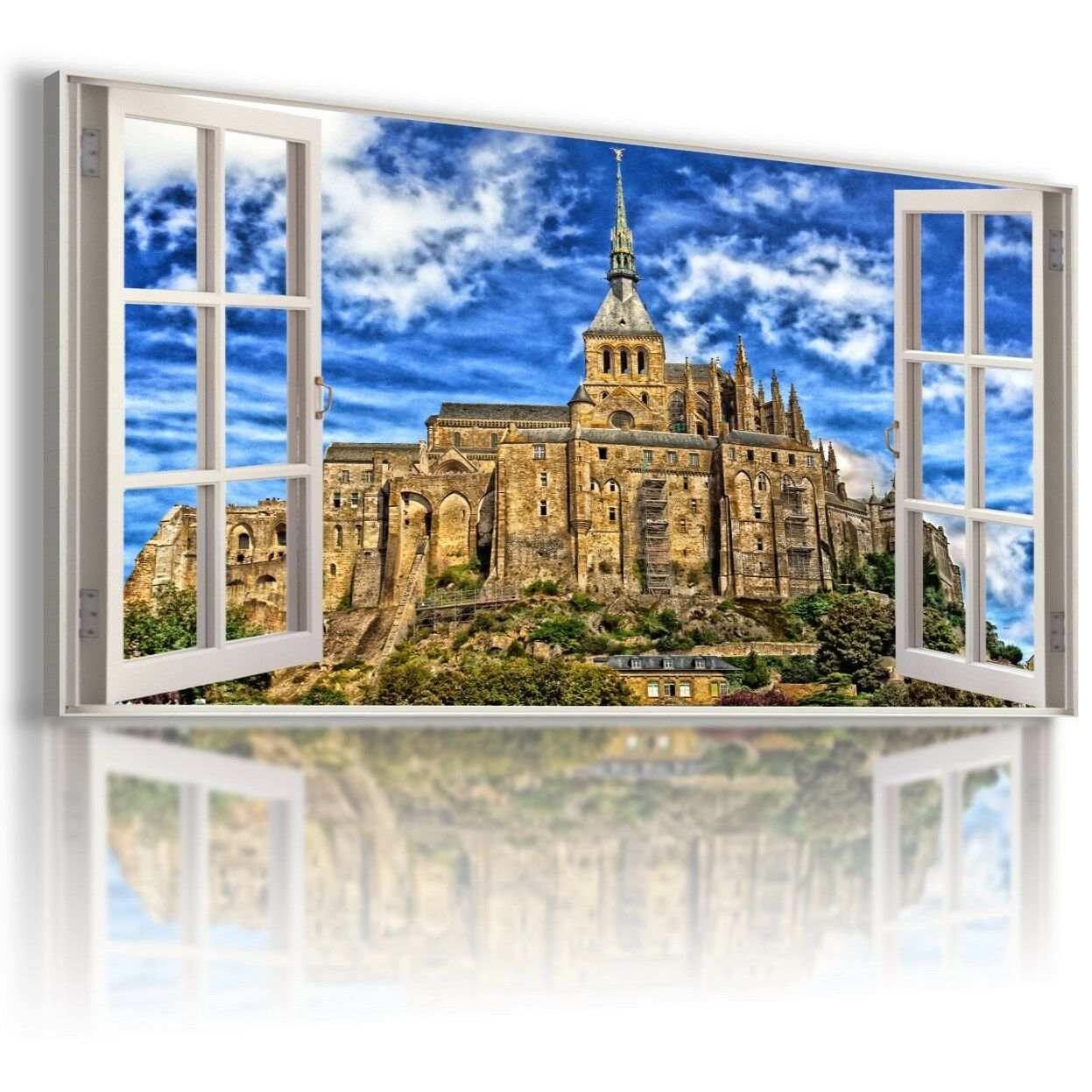 FRANCE CITY SUNRISE 3D Window View Canvas Wall Art Picture Large W414 MATAGA