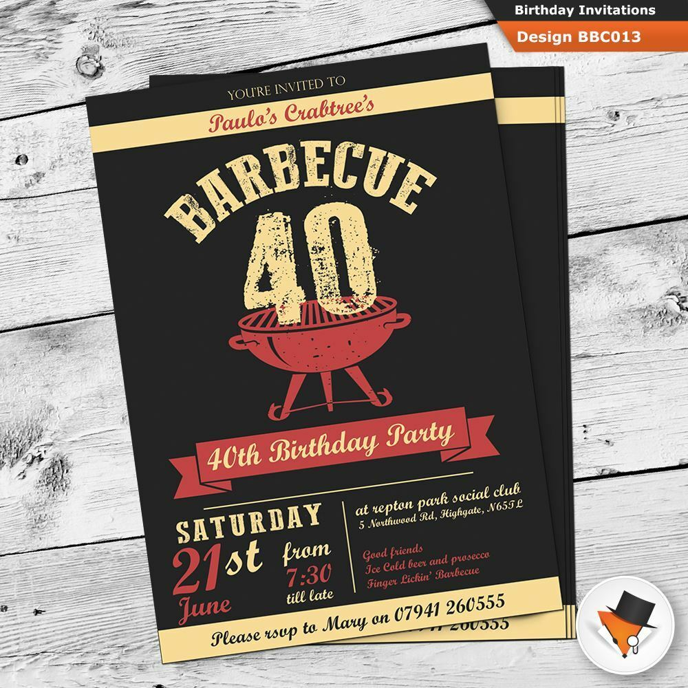 Personalised BBQ Barbeque Birthday Invitations With Envs 21st 30th 40th 50th