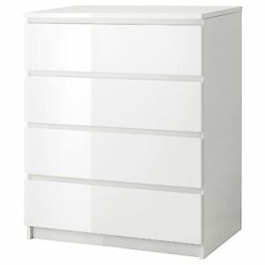 Image Is Loading Ikea Malm Chest Of 4 Drawers 80x100cm White