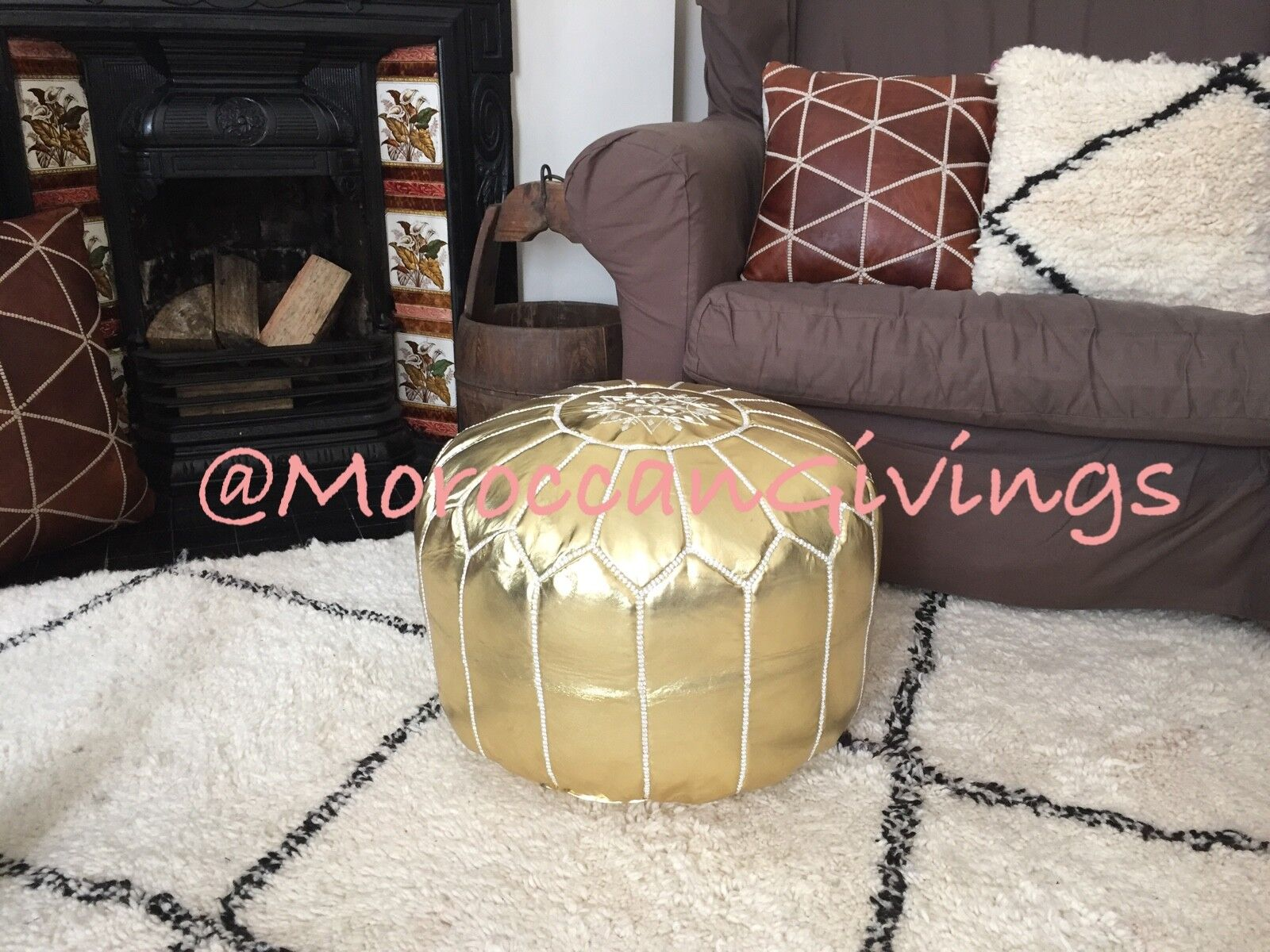 MGoldccan Handmade Faux Leather Pouffe Gold with Weiß embroidery