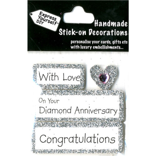 Express Yourself Diamond 60th Wedding Anniversary DIY Greeting Card Topper NEW