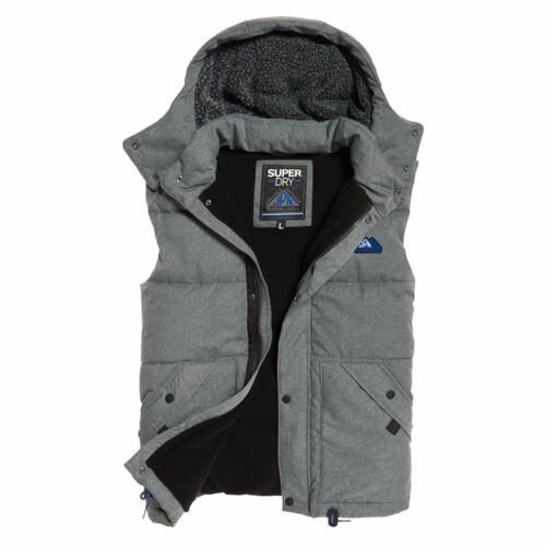 Superdry New Academy Grey Marl Hooded Padded Gilet 07Q