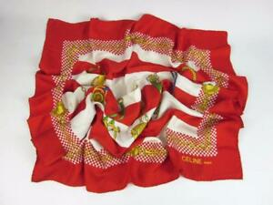 Authentic CELINE  Red   Gold, 100% Silk, Scarf Foulard 34