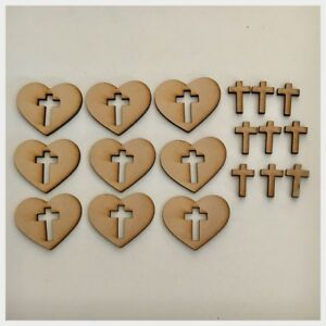 Details About Heart Cross Set Of 18 Plain Raw Cut Out Timber Mdf Craft Art Diy Raw Wooden