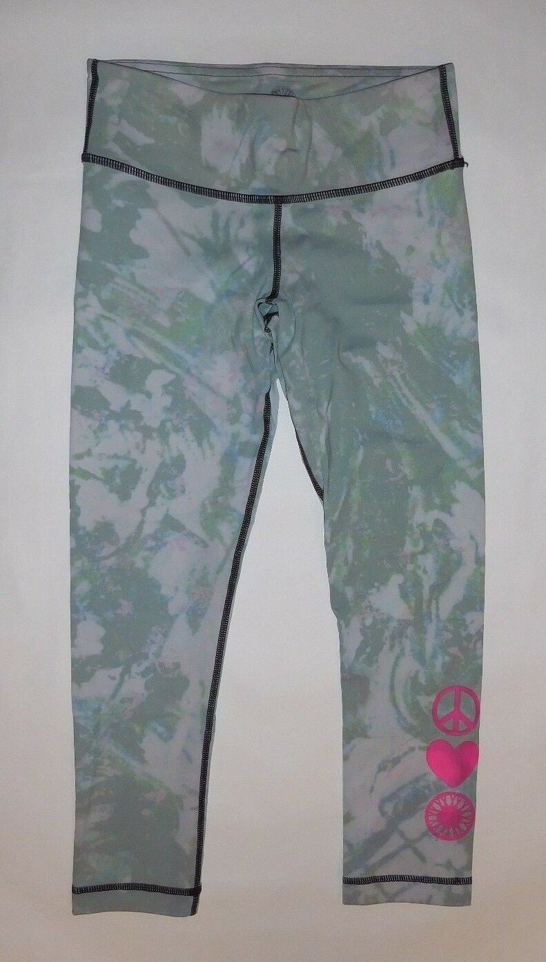 SOULCYCLE CROP PANTS MULTI COLOR PINK PEACE HEART WHEEL YOGA RUNNING GYM size S