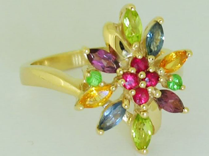 S R235 Genuine 9K Solid gold Multi-Gem Sapphire colorful  Cluster Ring size R