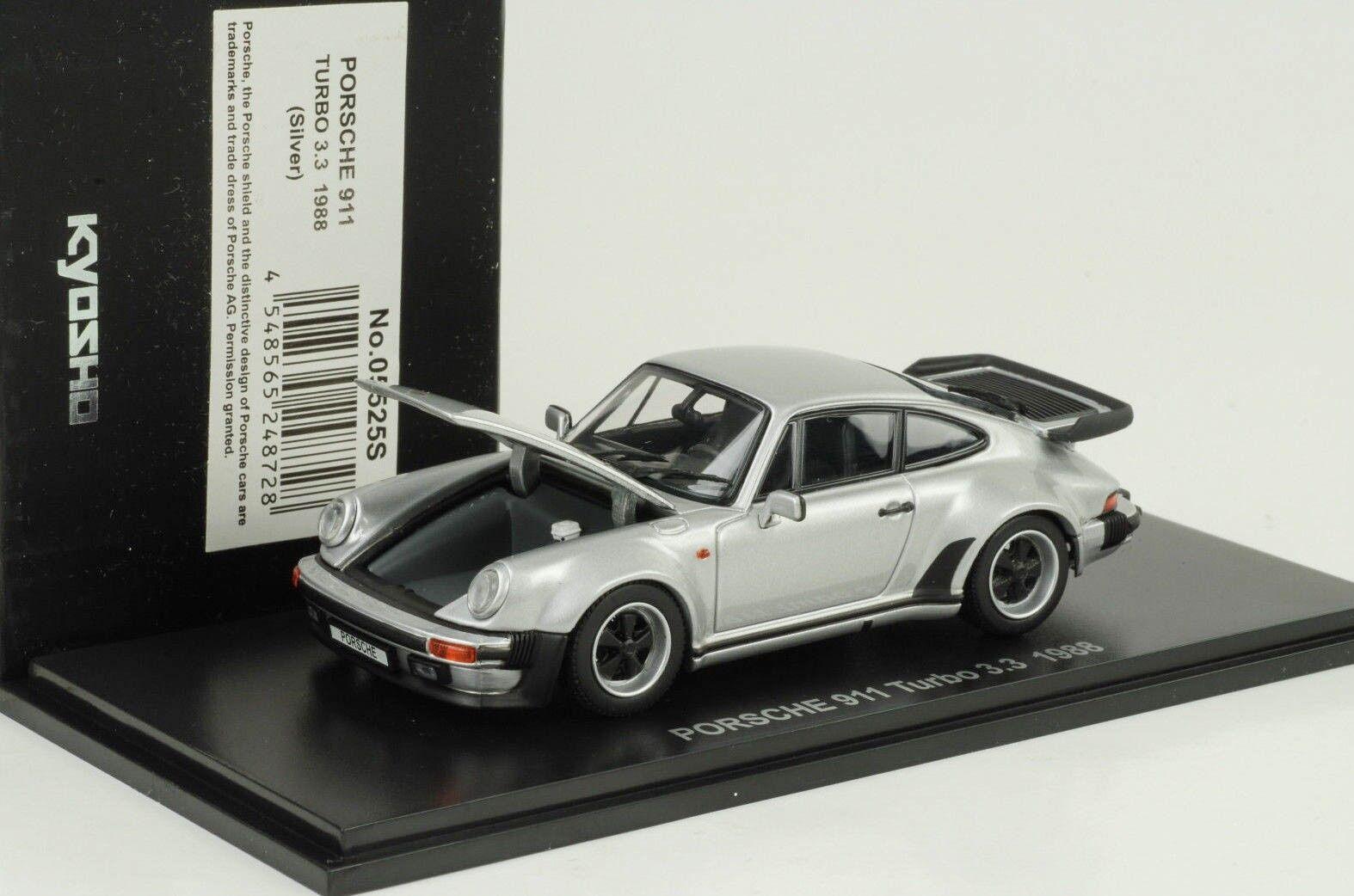1988 PORSCHE 911 930 Turbo 3.3 Openable Bonnet Rear Lid argent 1 43 Kyosho