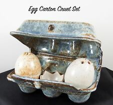 Lovely Studio Pottery MC 98 Egg Carton & Eggs Cruet Set & Stand