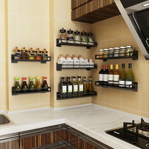 Stainless Steel Wall Mounted Spice Rack Shelf Holder for Kitchen Cabinet New