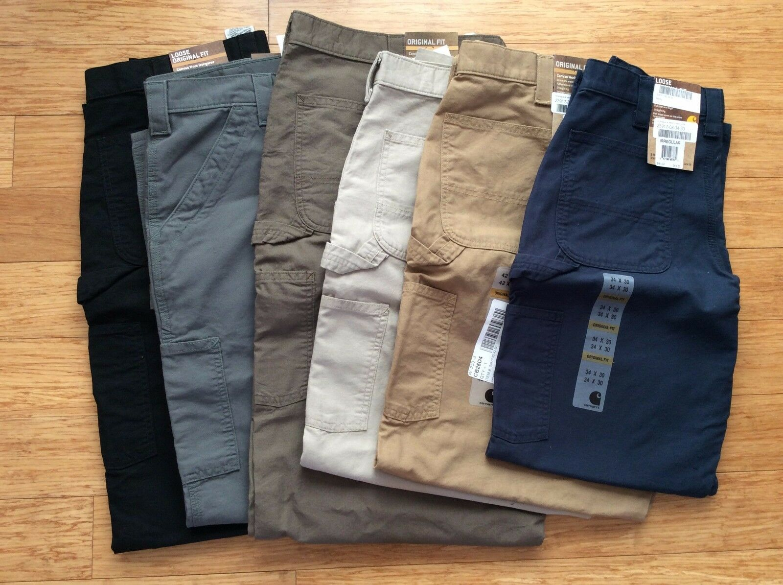 Carhartt Mens Work Jeans Washed Canvas pants trousers