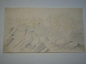 Ecole-FRANCAISE-XIX-DESSIN-CRAYON-PYRENEES-MONTAGNE-VIGNEMALE-ALPINISME-1871
