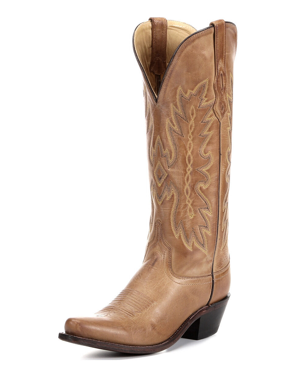 LADIES OLD WEST TS1541 TALL SNIP TOE TAN WESTERN COWGIRL BOOT