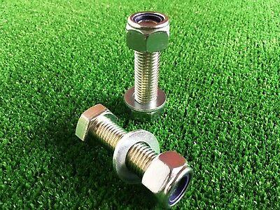 Par De Barra De Remolque//Remolque bola perno largo 65mm C//W Nyloc Tuerca /& Arandela 8.8 alta resistencia a la tracción