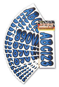 """BLACK SHADED BOAT LETTERS AND NUMBERS,STICKERS,NUMBER KIT 3/"""" INCH BLUE"""