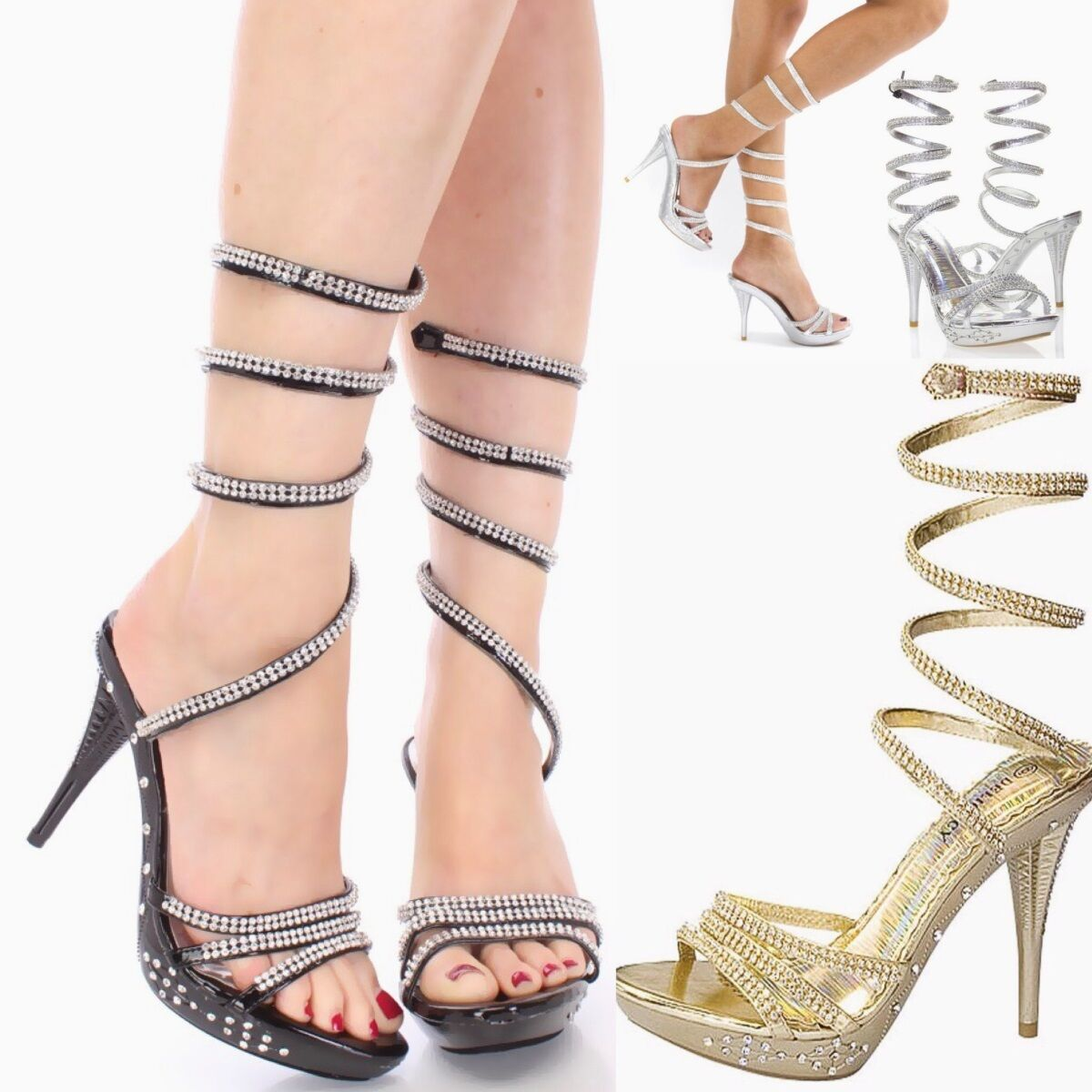Fancy Wedding Rhinestone Wrapped Stiletto High Heels Platform Pumps Sandals H127