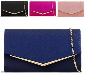 Womens-Party-Prom-Bridal-Evening-Clutch-Envelope-Purse-Glitter-Metallic-Handbag