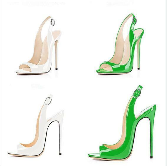 Chaussures femmes Bout Ouvert Escarpins Sandales slingbacks Boucle Super High Heel boîte de nuit