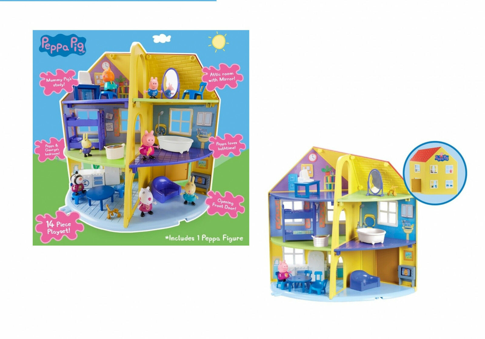 Peppa Pig Peppa's Deluxe Family Home House Playset With Figure Xmas Gift Toy New
