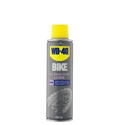WD-40 44803 Bike All Conditions Chain Lube 250ml PTFE Lubricant Wear Reducer
