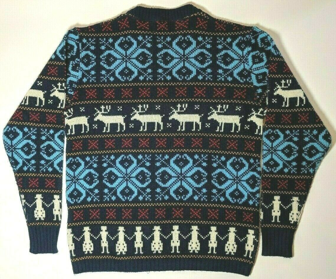 Vintage Jersild Sweater Deer Print Blue Red Acryl… - image 2