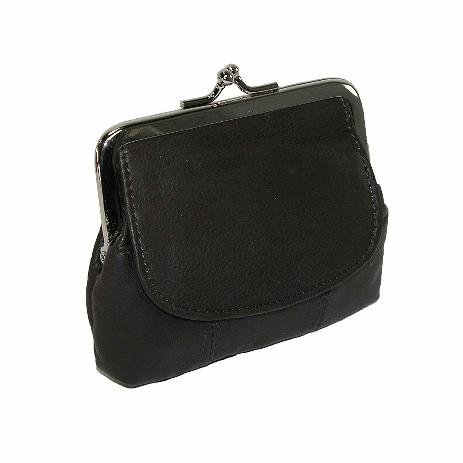 Black Genuine Leather Metal Clasp Women Coin Purse Flap Top Credit Card Holder