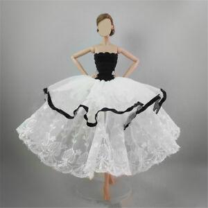 Handmade-Bianco-Nero-a-strati-principessa-abito-da-sera-vestiti-per-Barbie-Doll
