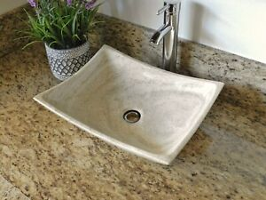 Bathrooom Travertine Marble Stone Vessel Sink Rectangle Bowl Beige-Cream
