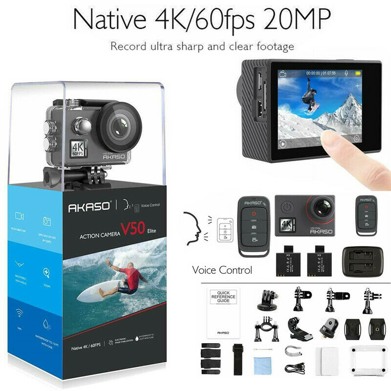 Akaso V50 Elite Native 4K/60fps 20MP 4K Action Camera Touch Screen Voice Control 20mp action akaso camera elite native screen touch v50 voice