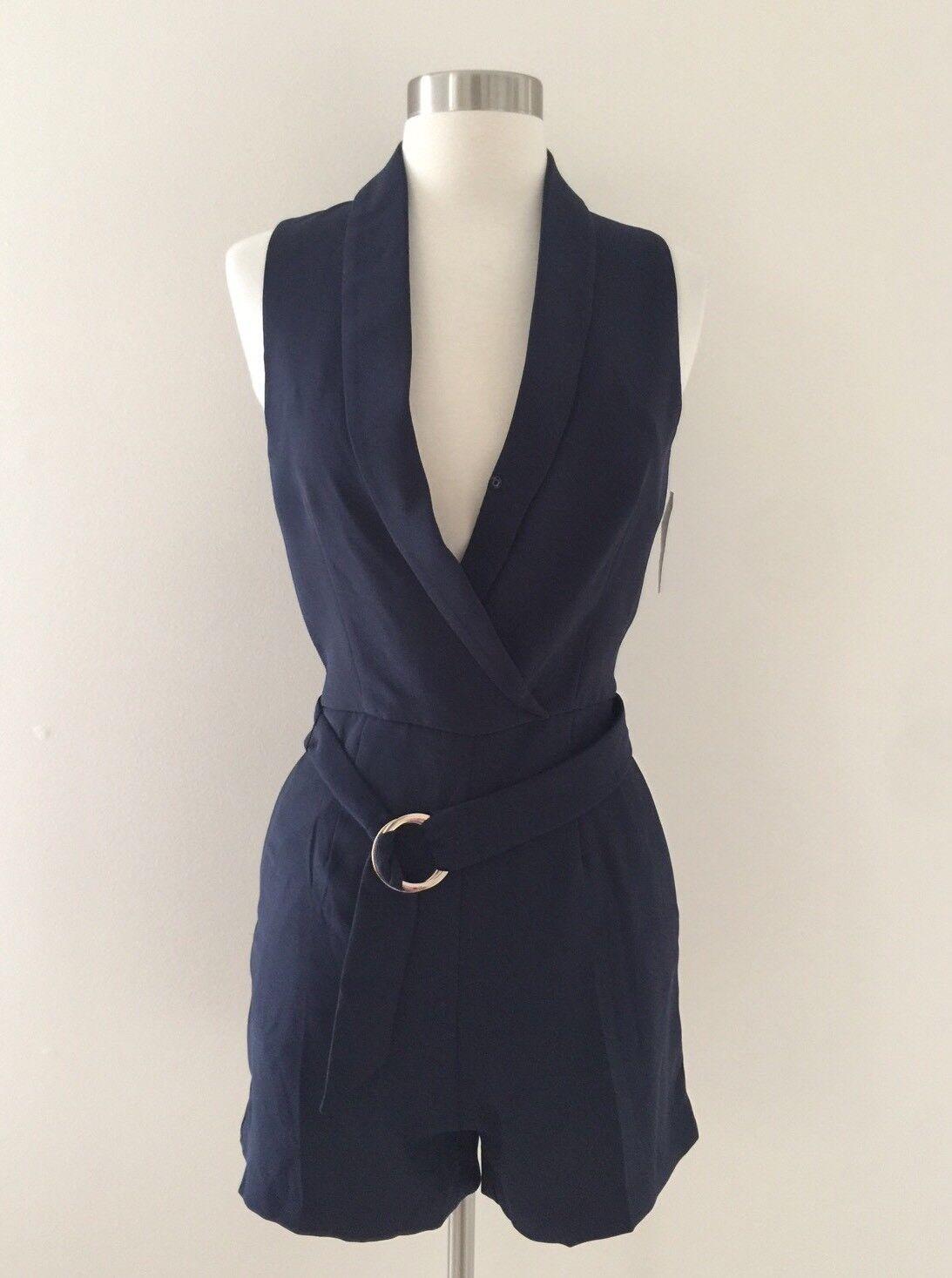 New H&M Women's Navy Suited Romper Shorts Suit Size 2