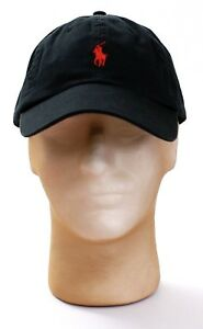 bd4b59a3811 Polo Ralph Lauren Black Adjustable Cap Hat Red Pony Adult One Size ...