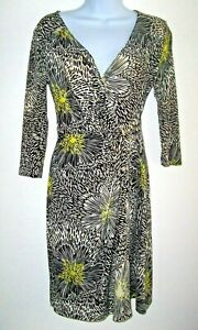 Apt-9-Faux-Wrap-Dress-Women-XS-Black-White-Citron-Floral-Abstract-Buckle-Detail