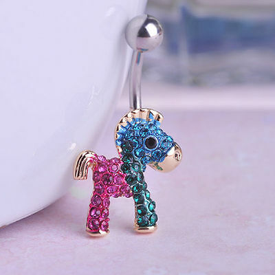 GOLD Horse Dangle BELLY Button Bar NAVEL Barbells RINGS Body Piercings Jewelry